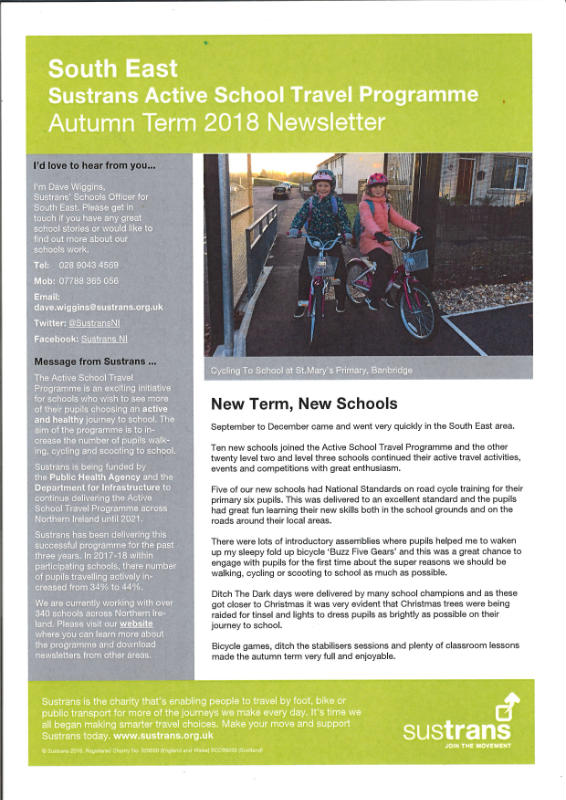 Active School Travel Autumn Term Newsletter 2018